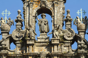 Spire of the cathedral of Santiago, with a sculpture of the apostle Santiago as a pilgrim
