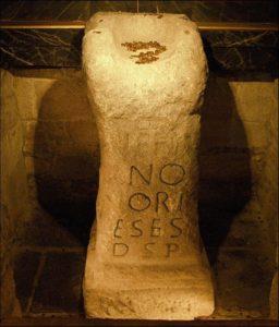 """El """"Pedrón"""", en la iglesia de Santiago de Padrón (fotografía cedida por Turismo de Santiago)"""