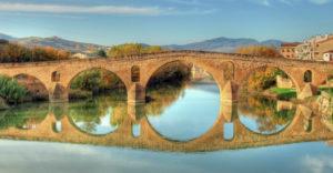 Medieval bridge in Puente la Reina in Navarra
