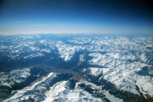 View of the Pyrenees covered with snow