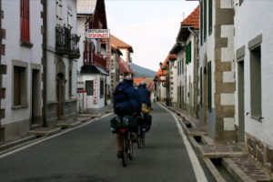 Pilgrims on the road by bicycle in Burguete