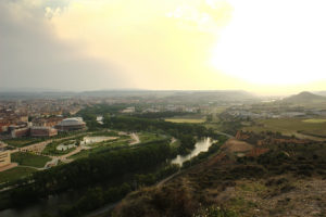 Ribera Park next to the Ebro, Logroño in the background. On the way to Santiago de Compostela
