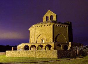 Temple of Santa María de Eunate in the night