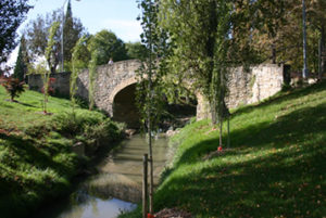 Stone bridge of Acella Landa over the river Arga
