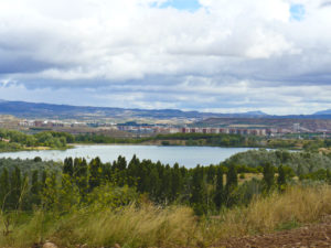Grajera Reservoir, with Logroño in the background