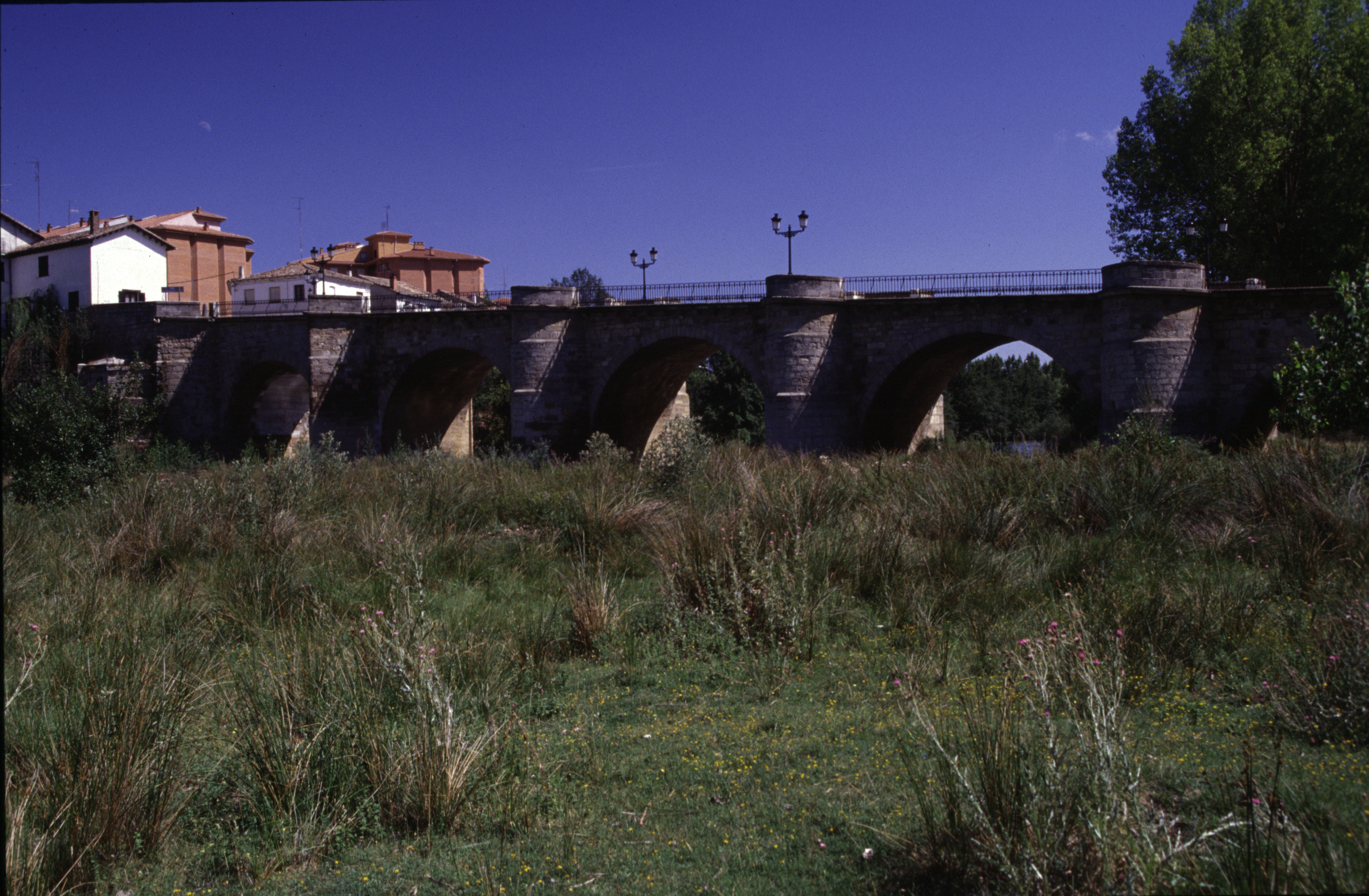 Bridge over the Río Carrión at night, in Carrión de los Condes