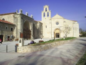 Exterior facade of the San Juan de Ortega monastery on the way from Santo Domingo de la Calzada to Burgos