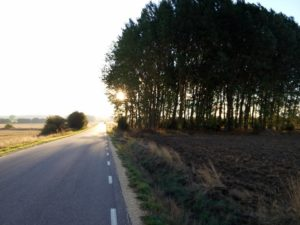 Regional road that runs from Agés to Atapuerca in a sunny day
