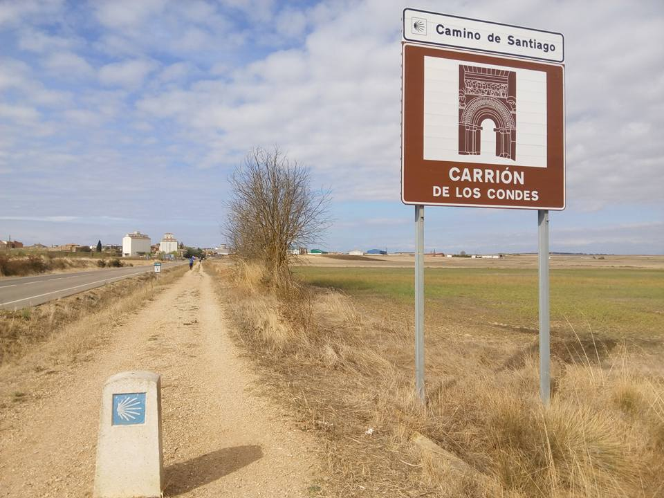 A Camino de Santiago sign Road between Frómista and Carrión de los Condes