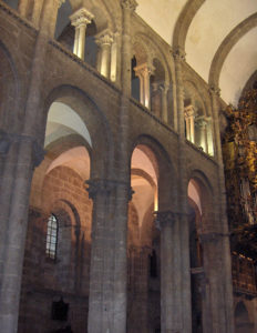 Interior of the cathedral of Santiago, where you can see the tribune that occupies the entire upper space of the side aisles