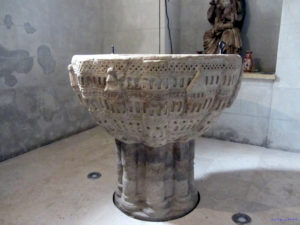 Romanesque baptismal font in the Redecilla del Camino church
