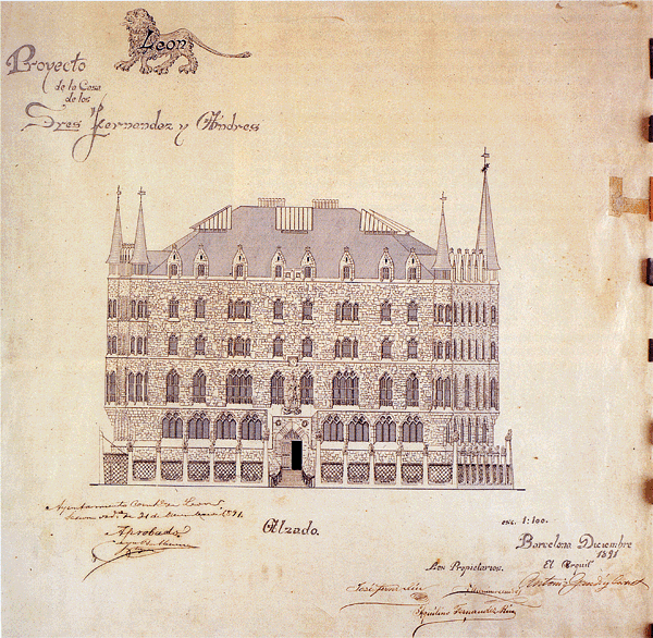 Drawing of Casa de Botines