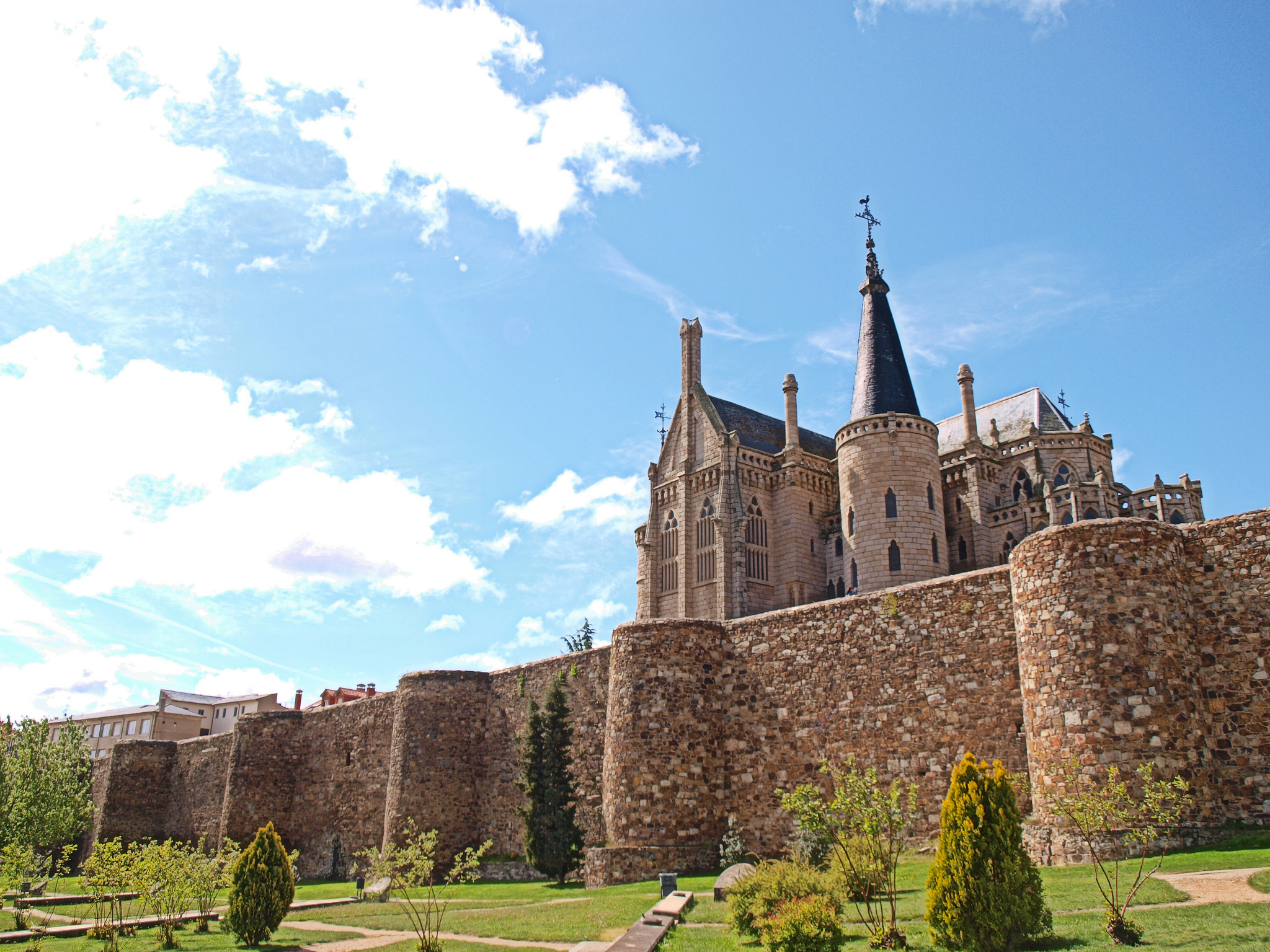 Episcopal Palace of Astorga and the Roman Wall in Astorga
